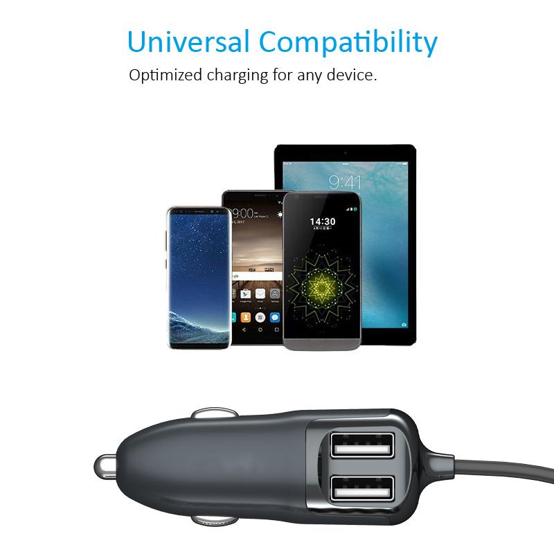 迷你车载usb充电器_带线车载充电器 带线车充 4.8A