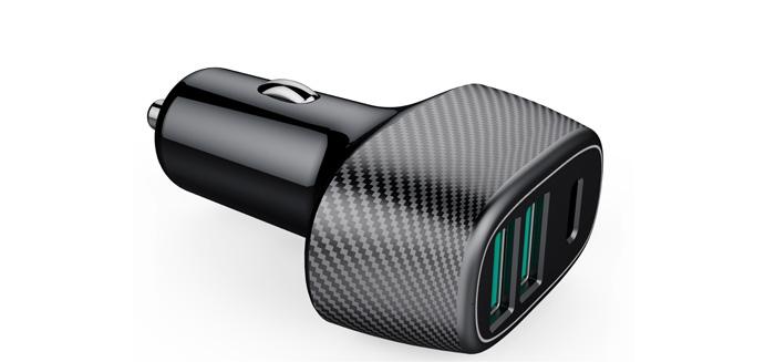 新款碳纤维车充双口2QC3.0+PD