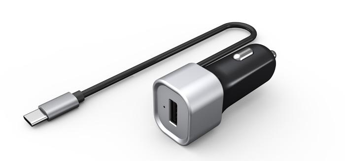 带线USB车载充电器QC3.0+PD