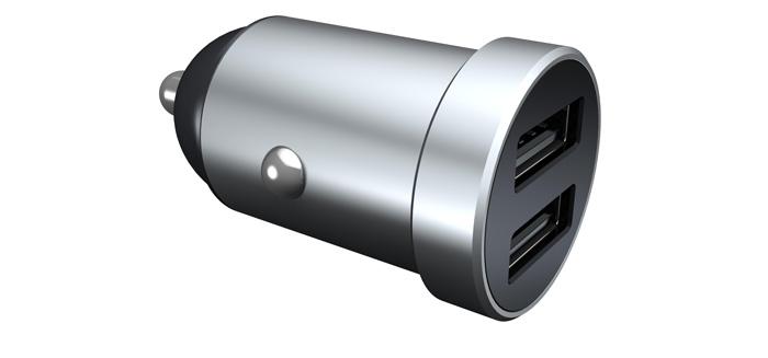 迷你双口塑胶车充PD18W+QC3.0